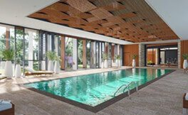 Artist impression of St Ives Carine village heated pool in health pavilion, The Blue Diamond